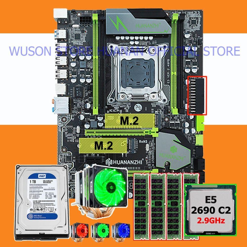 Rabatt HUANANZHI X79 Pro motherboard bündel dual M.2 slot CPU Xeon E5 2690 2,9 GHz 6 rohre kühler RAM 32G (4*8G) 1TB SATA3.0 HDD