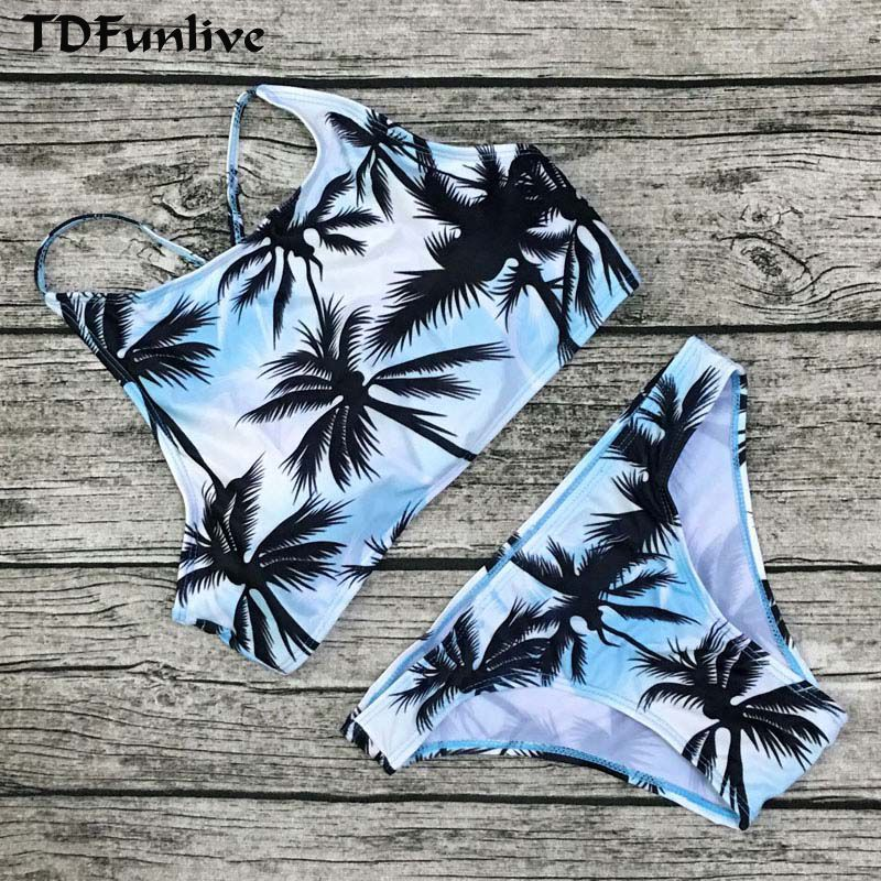 Impression Floral Palmier Bikini Set Halter crop top accrocher Haute cou Bikinis set push up Maillots De Bain Femmes Maillot de Bain plage maillot de bain