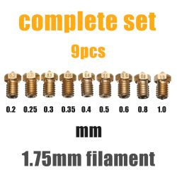 Mayitr 9pcs 1.75mm Filament Extruder Nozzle 3D Printer Accessories Nozzle Set for 3D V6 J-Head&MK8 Makerbot 3D Printer Part