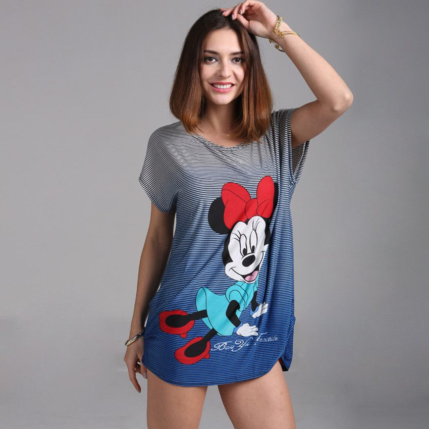 2018 été Plus La taille T-shirt Grande Taille Femmes de bande dessinée Souris Impression t-shirt Style Long Lâche Occasionnel T-shirts Doux tops tunique