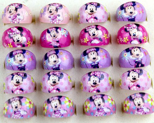 2017 nouveaux Lots de bijoux en gros mélanger 100 pièces mignon résine dessin animé filles enfants Minnie enfants sûr anneaux
