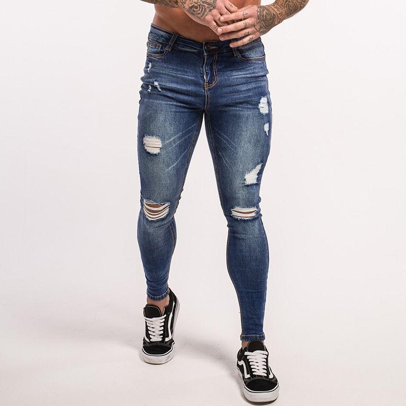 Gingtto Blue ripped Jeans for Men Super Stretch Male Pant Distressed Fake Designer Brand men Jeans skinny fit Street Wear zm02