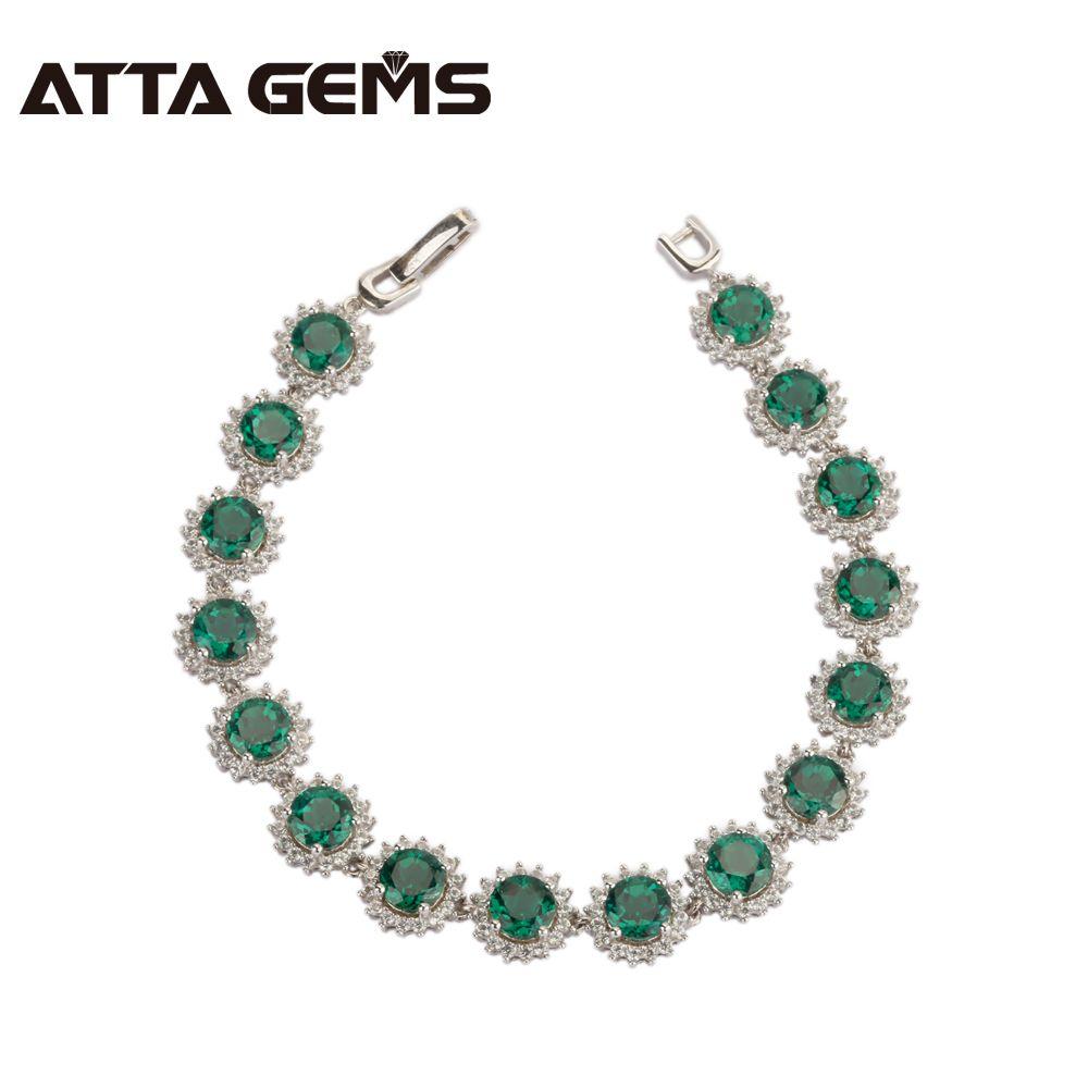 Green Emerald Silver Bracelet 16 Carats Created Emerald Round 6mm Women Fashion 925 Sterling Silver Bracelet Classic Bracelet