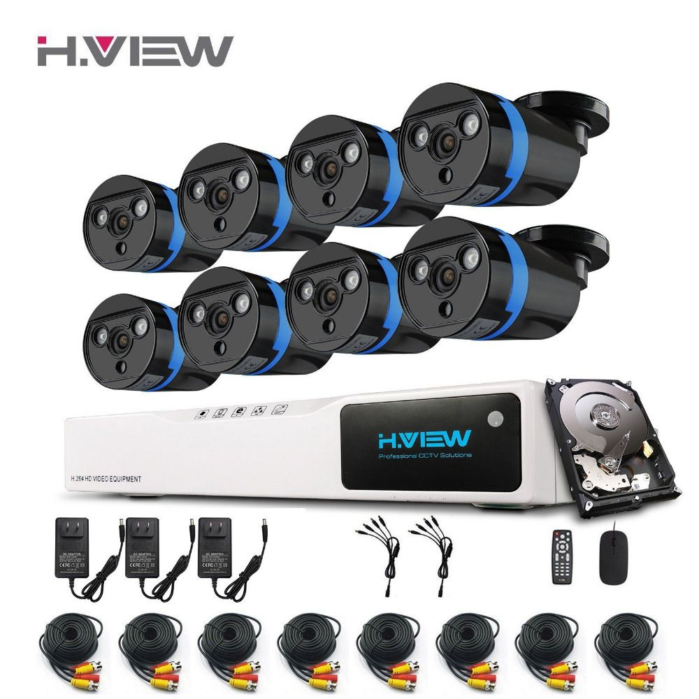 H.view Surveillance SYSTEM 8PCS 1080P Outdoor Security Camera Kit Super Night Vision 8 Channel DVR Kit AHD Camera 1TB HDD