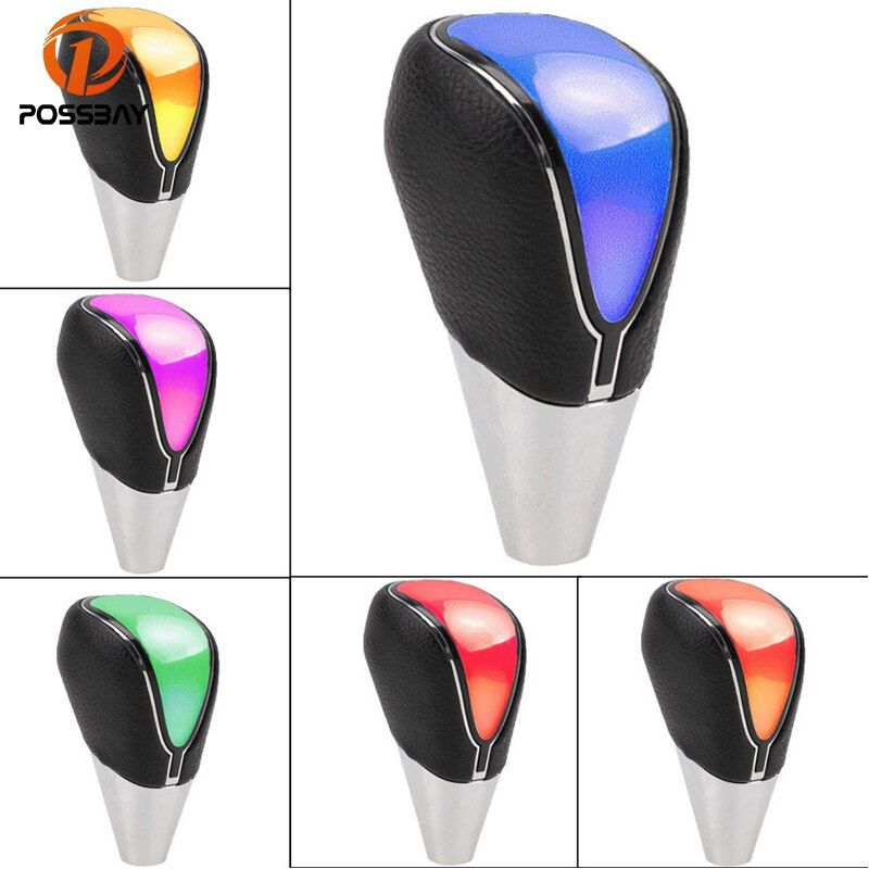 POSSBAY Car Gear Knob Blue/Red/White/Changeable LED Touch Activated Stick Shift Shifter Lever Knob Manual Transmission