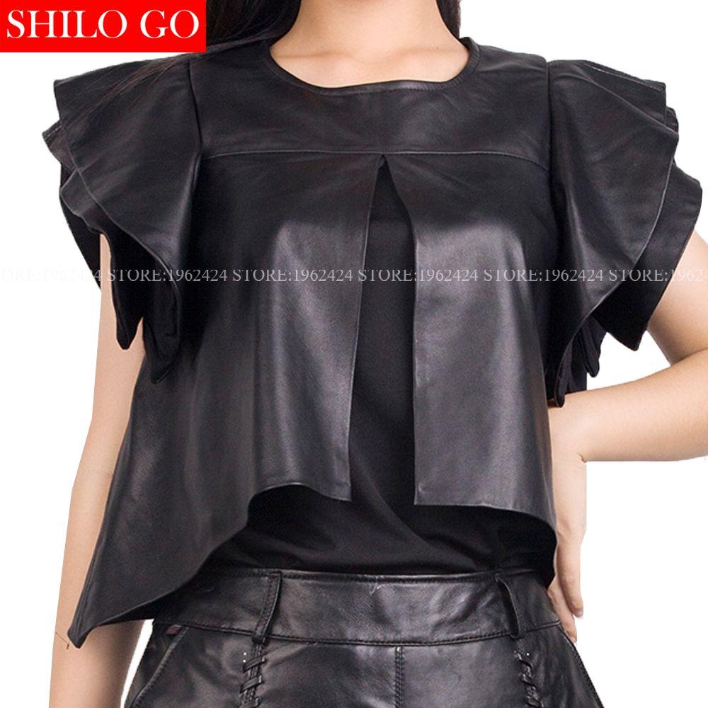 Plus size 2017 autumn spring fashion women high quality Sheepskin round neck collar ruffles sleeve black leather T-shirt 3XL