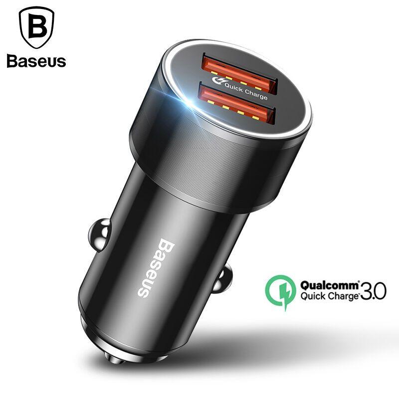 Baseus 36 W Double USB Chargeur Rapide QC 3.0 Chargeur De Voiture Pour iPhone 8 Samsung S9 Mini Voiture-Chargeur de Téléphone portable Voyage Adaptateur Chargeurs