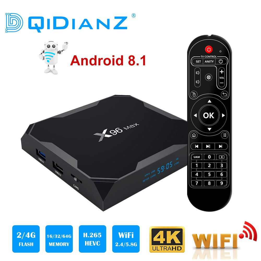 X96 Max boîtier de smart tv Android 8.1 2.4G/5G Wifi Bluetooth 4.0 S905X2 Quad Core 4 K 1080 P full HD Netflix Lecteur X96max Set-Top Box