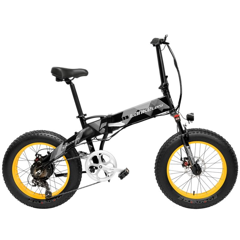 X2000 20 Inch Folding Electric Bicycle 7 Speed Snow Bike 48V 12.8Ah 500W Motor Aluminium Alloy Frame 5 PAS Mountain Bike