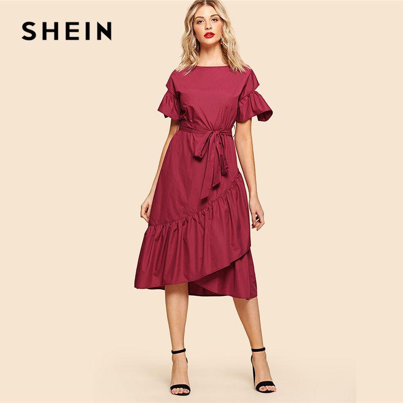 SHEIN Burgundy Elegant Overlap Ruffle Hem Flounce Sleeve Round Neck Knot Front <font><b>Belted</b></font> Dress Summer Women Weekend Casual Dresses