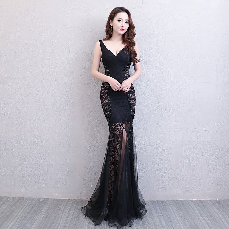 Floor-Length Full manual Gauzy Sexy Star full Prom Evening dresses 2018 Cocktail dress Night entertainment venue dress L18004