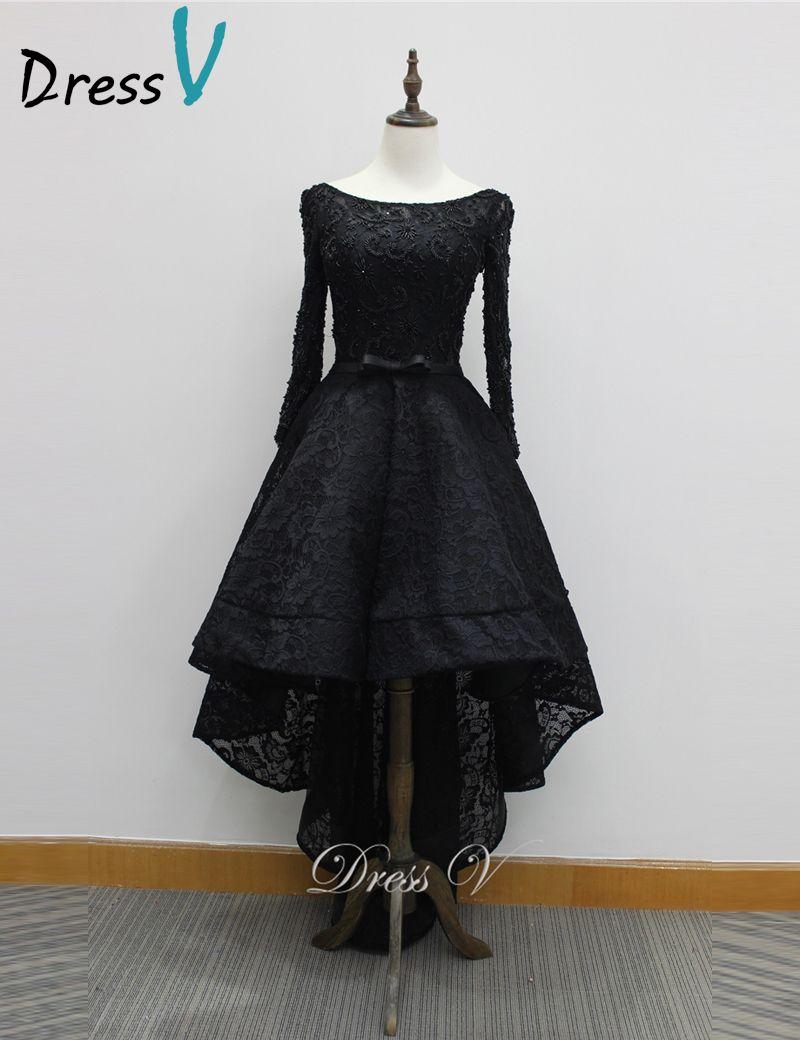 Dressv Black Vintage Runway Lace Evening Dresses 2017 Long Sleeves Scoop with Belt High-Low A-line elegant evening dress