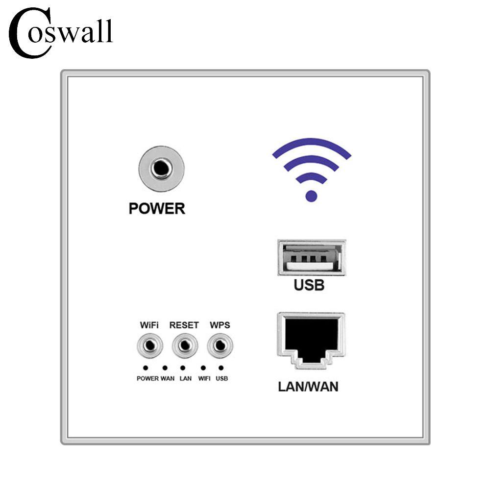 300 M Pared Incrustado AP Router Inalámbrico de Carga USB Puerto de salida 1500mA Pared WIFI Routeur Panel Socket Envío Gratis