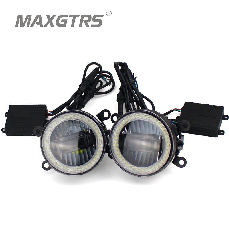 2x Universal 3.5 inch Auto Light LED Angel Eyes Daytime Running Light DRL Car Fog Light Assembly Foglamp For Nissan Mitsubishi
