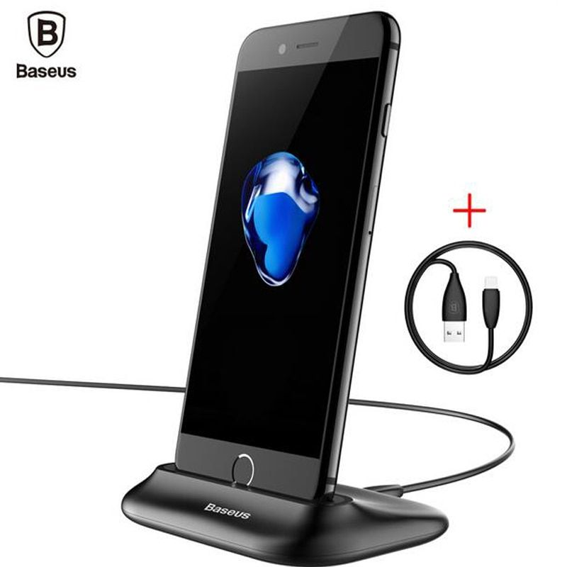 Baseus Desktop Docking Charger For iPhone Data Sync Charging Desktop Holder Stand For iPhone 5 SE 6 7 Plus Charging Dock Station