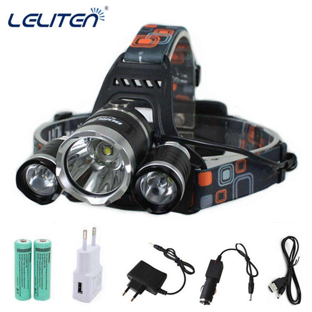 13500LM XML-T6+2xR5 LED HeadLamp Waterproof Headlight head light Fishing Lamp Lantern +2x 18650 Battery + Car / USB /AC Charger