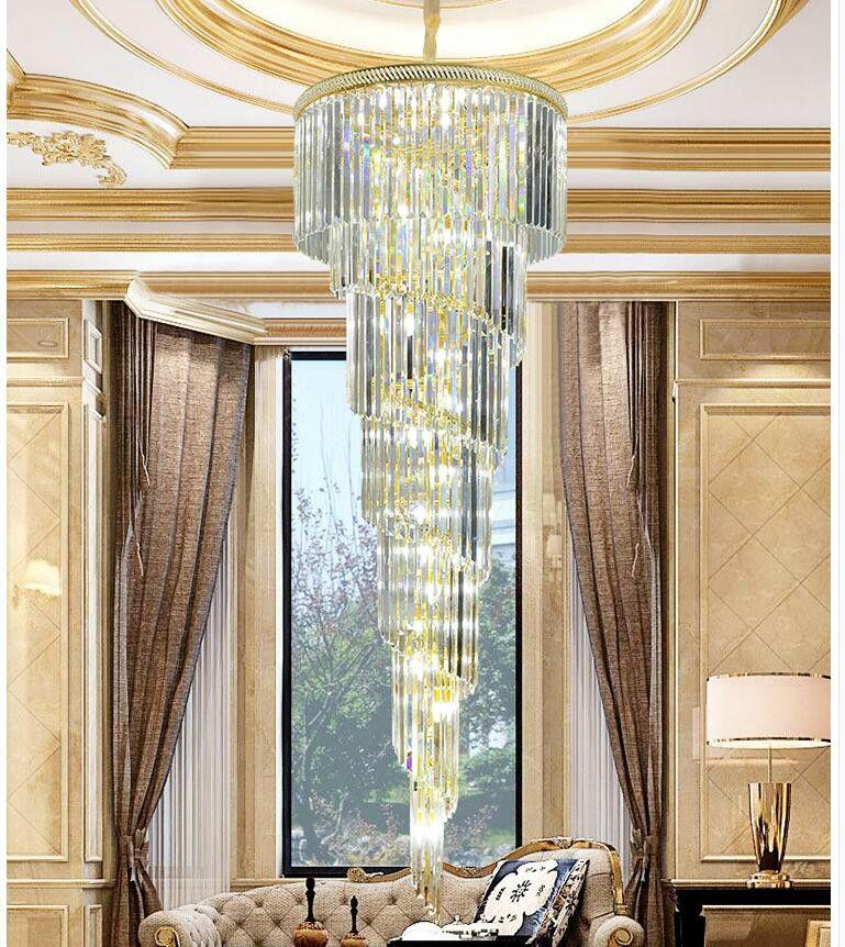 Freies Verschiffen D550mm H1800mm Goldene Moderne Hotel Kristall-kronleuchter Pendelleuchte Led-lampe Hotel Kronleuchter AC 100% Garantiert