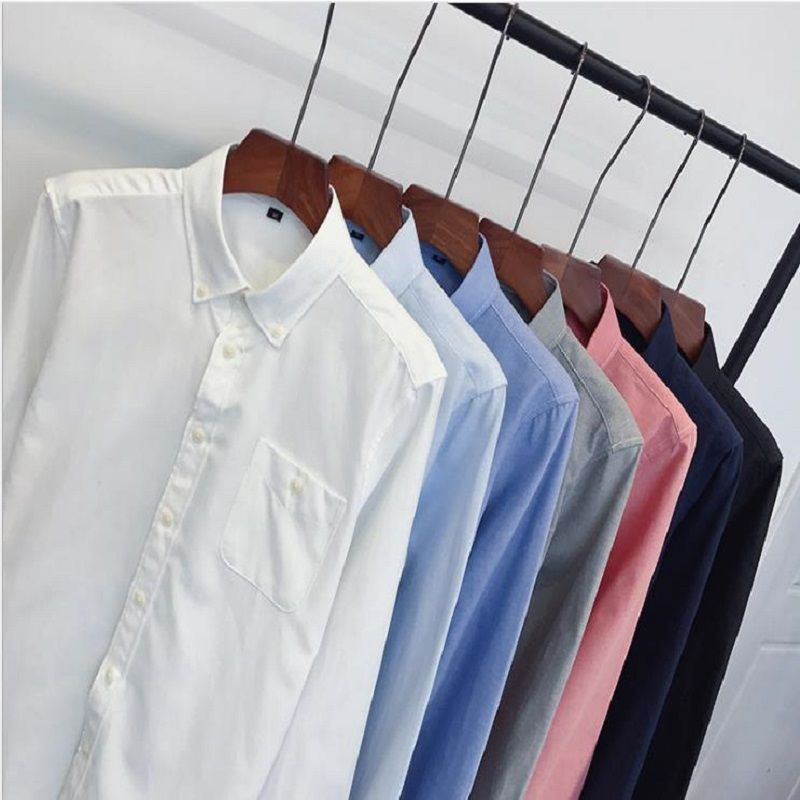 ECTIC kuang2018 Brand Fashion Male Shirt Long-Sleeves Tops Slim Casual Solid Color Mens Dress Shirts Slim Men Shirt 3XL