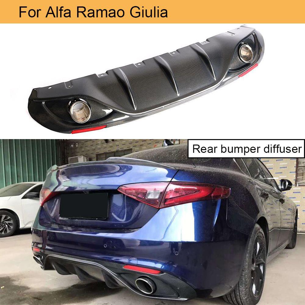 Carbon Fiber Auto Hinten Bumnper Diffusor Lip Spoiler Für Alfa Romeo Giulia Limousine 4 Tür 2017-2019 Quadrifoglio TI mit endrohr
