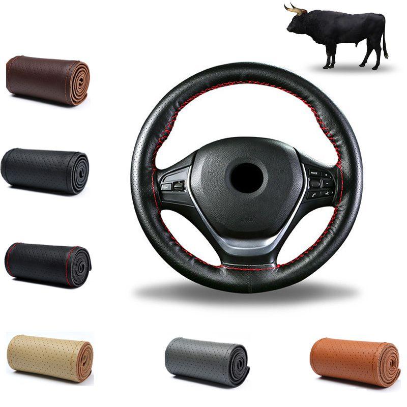 Couverture de volant de voiture bricolage tresse en cuir véritable sur le volant de voiture avec aiguille et accessoires d'intérieur de fil