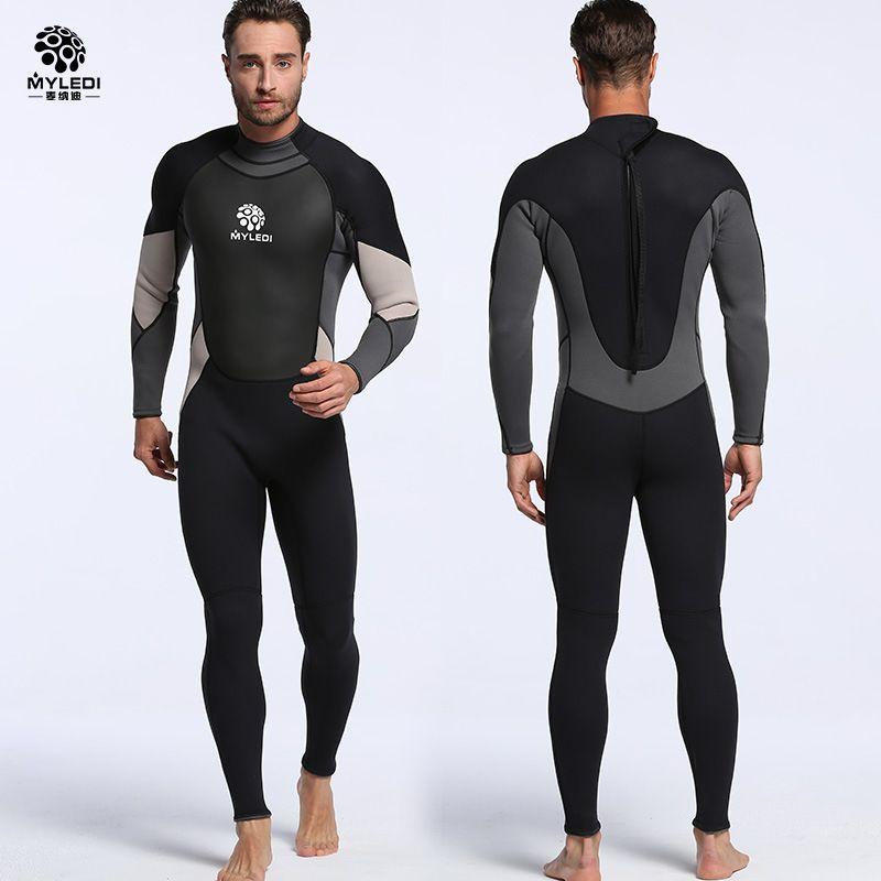 New neoprene 3mm one-piece diving suit waterproof clothing warm wetsuit surfing suit Men's free diving suit