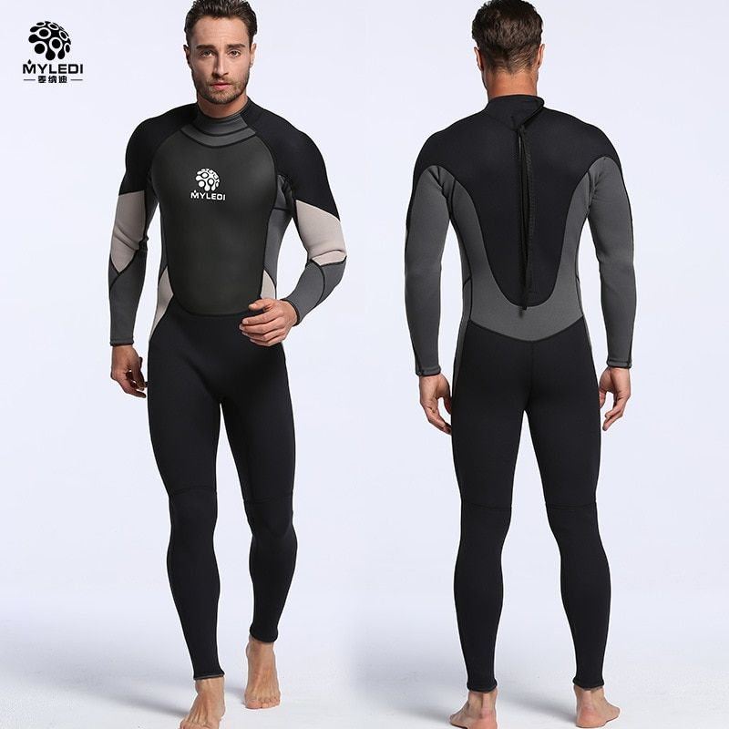 New neoprene 3mm one-piece diving suit waterproof clothing warm wetsuit surfing suit Men's free diving suit