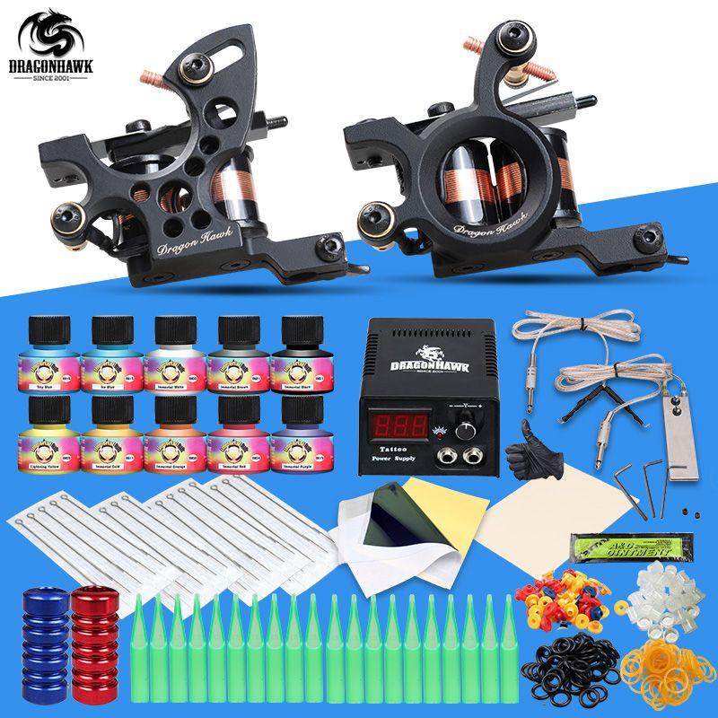 Professional Tattoo Kit 2 Machine Gun 10 Color Inks <font><b>Power</b></font> Supply Complete Tattoo Kits
