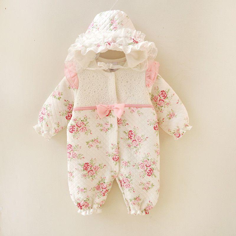 Hiver Nouveau-Né Bébé Fille Vêtements Épaissir Princesse Florale Combinaison Vêtements Ensembles Filles Body + Chapeaux