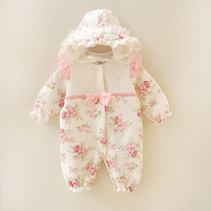 Winter Newborn Baby Girl Clothes <font><b>Thicken</b></font> Floral Princess Jumpsuit Clothing Sets Girls Bodysuit+ Hats