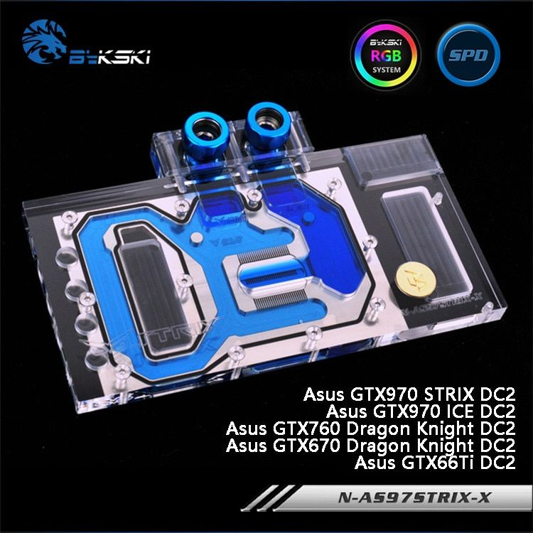 Bykski N-AS97STRIX-X Full Cover Graphics Card Water Cooling Block RGB/RBW/ARUA for Asus GTX970STRIX/970/760/670/66Ti