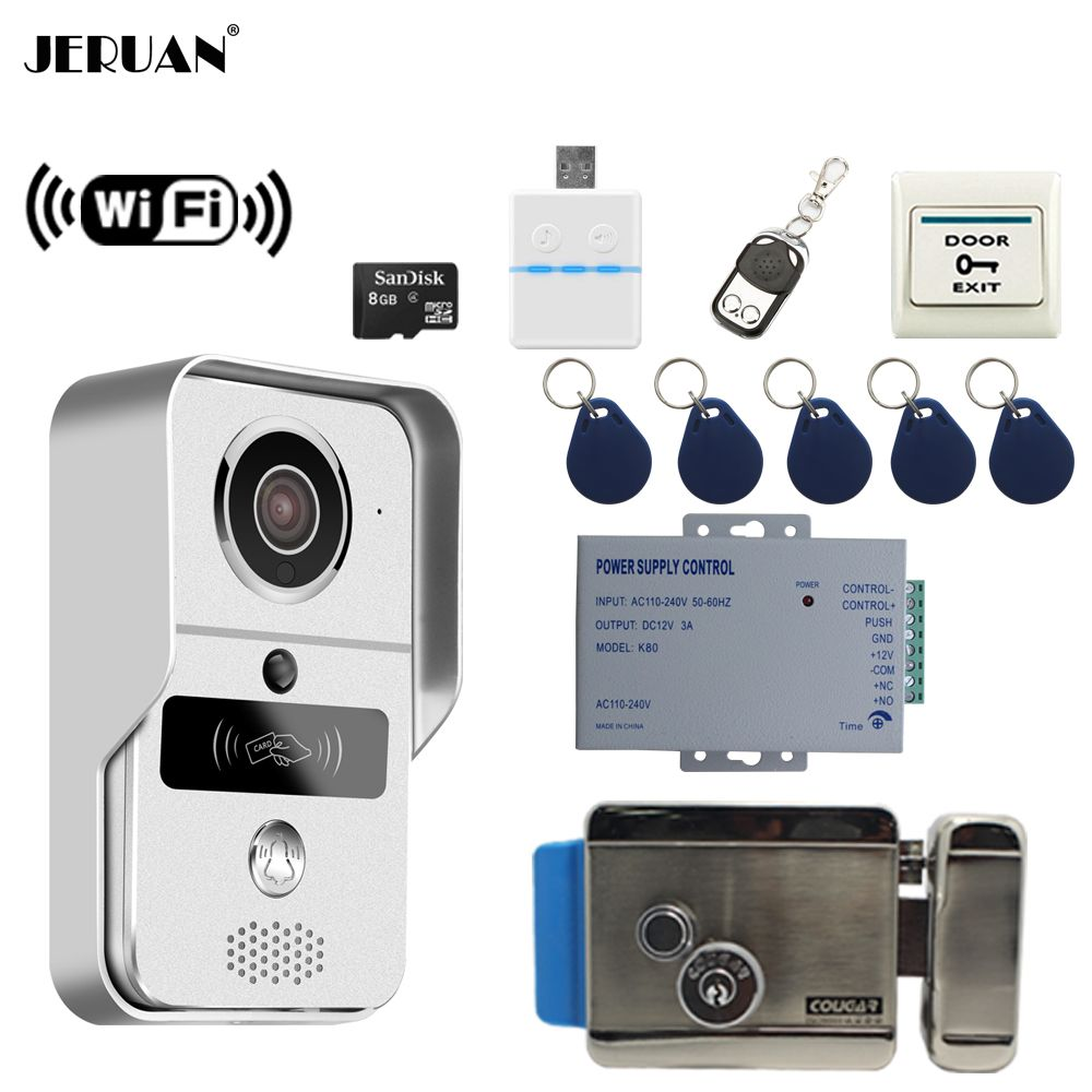 JERUAN 720 p Silber WiFi Video Tür telefon Intercom kit Wireless Rekord Türklingel Für Smartphone Remote View Entsperren Elektronische schloss