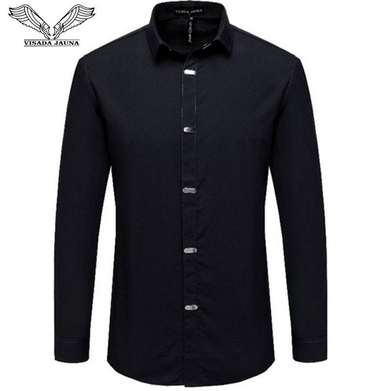 VISADA JAUNA Hommes Chemises 2018 Automne Nouvelle Arrivée de Style Britannique Occasionnel À Manches Longues Solide Mâle Affaires Slim Fit Chemise 4XL N511
