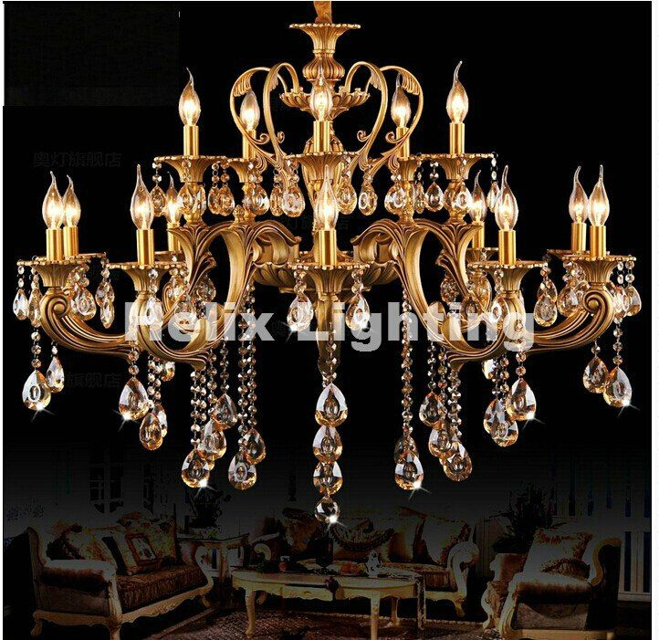 D950mm Brass Gold Crystal Chandeliers Luxury Hotel Chandelier Lamp Lighting Fixture AC 15L/18L100% Guaranteed Free Shipping