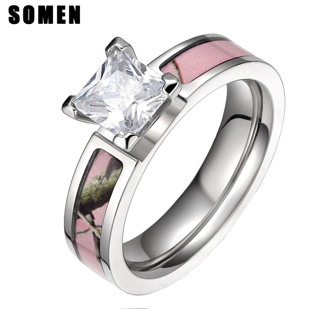 5mm Titanium Cubic <font><b>Zirconia</b></font> Women Ring Pink Tree Camo Rings Female Engagement Jewelry Wedding Band Aneis Feminino anillos mujer