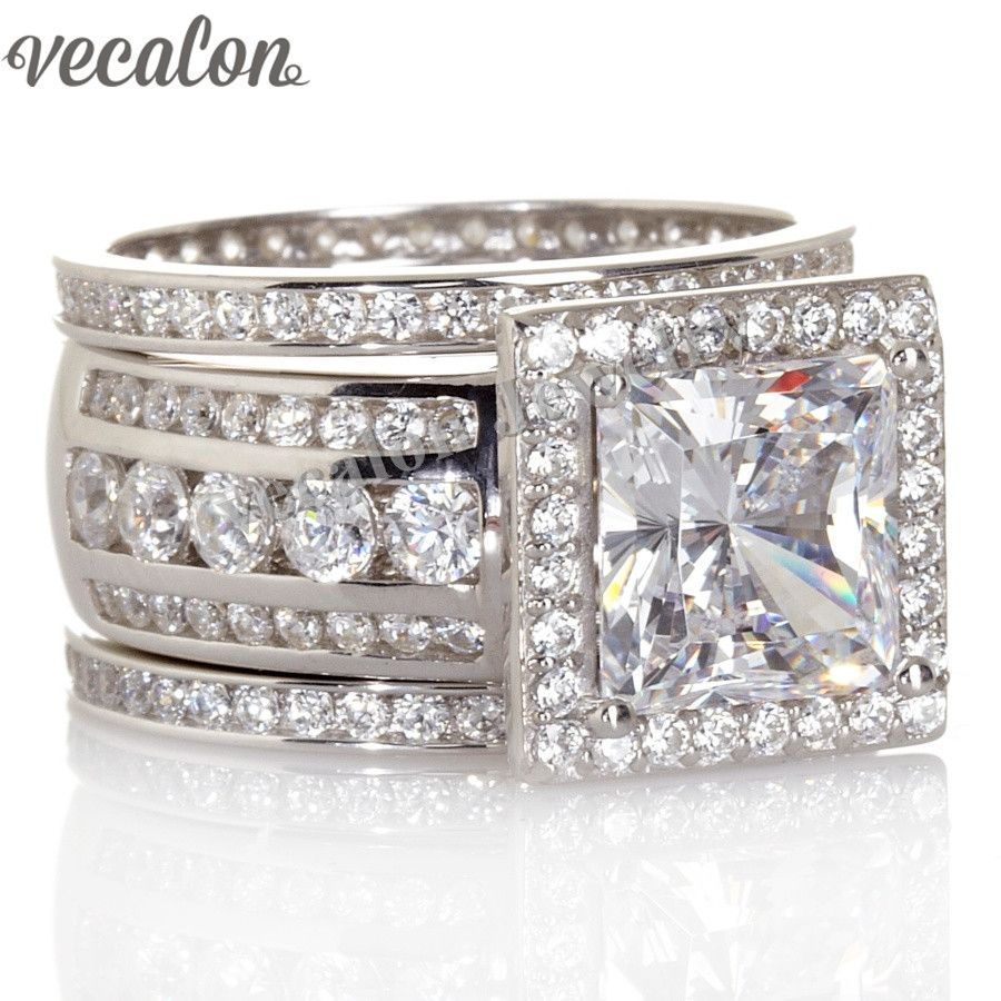 Vecalon Luxury Jewelry Engagement wedding Band ring Set for women Gift 3ct AAAAA Zircon Cz 925 Sterling Silver Party ring