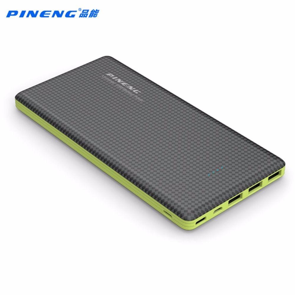 Original Pineng 20000 mAh Banco de la Energía Paquete Externo de La Batería de Copia de seguridad de 3 Puerto salida Para El Iphone 5 5S 6 7 Xiaomi Con Luz LED