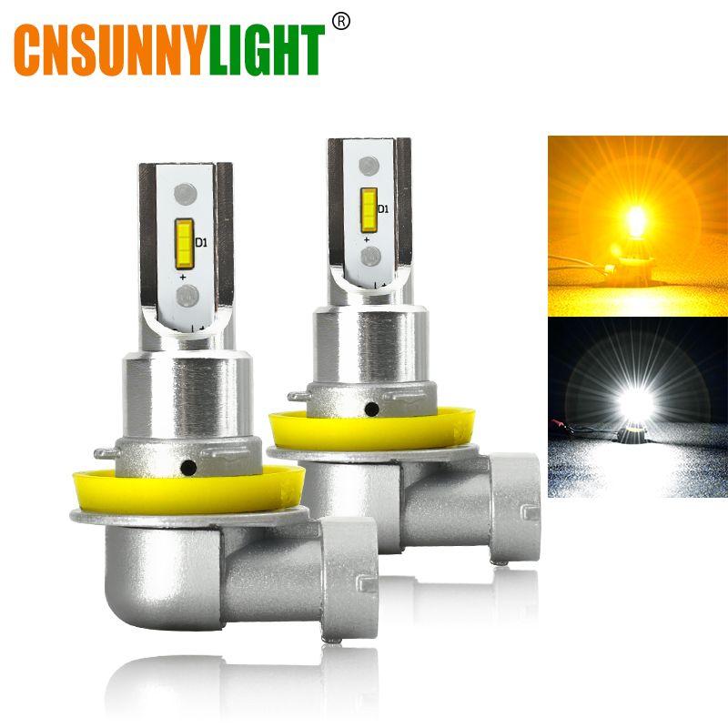 CNSUNNYLIGHT H11 9005/HB3 9006/HB4 feux de brouillard à LED pour voiture Phare Ampoule 2400Lm 6000K Blanc 3000K Jaune H9 H8 H16 Avant Automatique de Brouillard