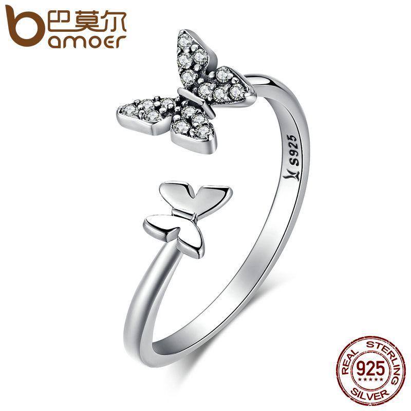 BAMOER Hot Sale 925 Sterling Silver Dazzling CZ Butterfly Open Finger Ring for Women Fashion Sterling Silver Jewelry Gift SCR087
