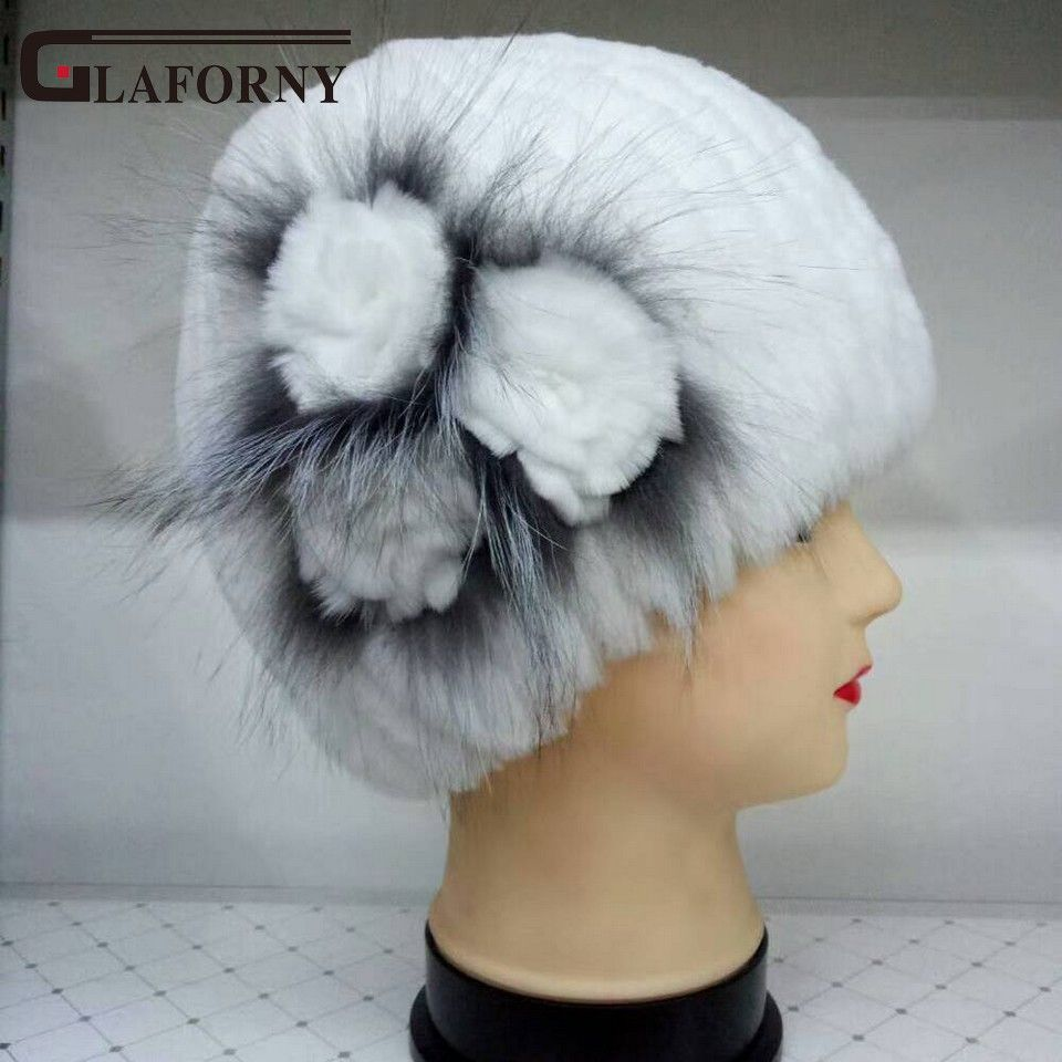 Glaforny 2018 New in Women Fashion Thick and Warm Rex Rabbit Fur Winter Knitted Hat High Quality with 3 Fur Flowers Silver Strip