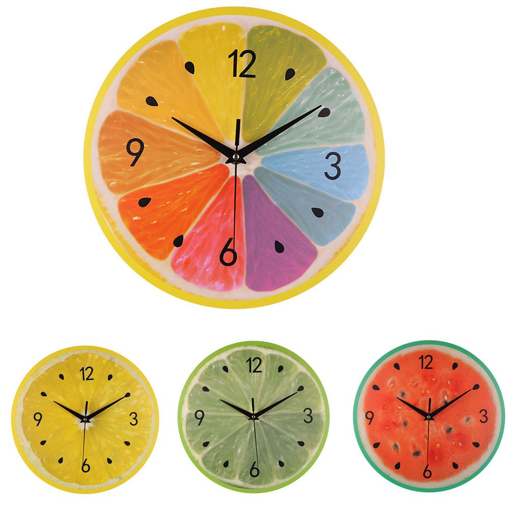 30cm X 30cm Wall Clocks For The Living Room Kitchen Cafe Colorful Fruits Wall Clock Modern Design Clocks for Home Decor r4