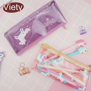 Cartoon unicorn PVC clear pencil case school pencil cases for girl stationery canvas pencil bag estojo escolar school supplies