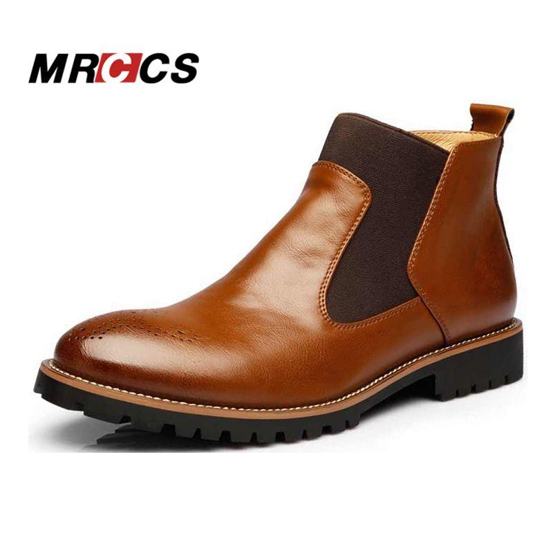 Mrccs весна/На зимнем меху Для Мужчин's Ботинки Челси, британский стиль Модные ботильоны, черный/коричневый/красный броги мягкие Повседневная ...