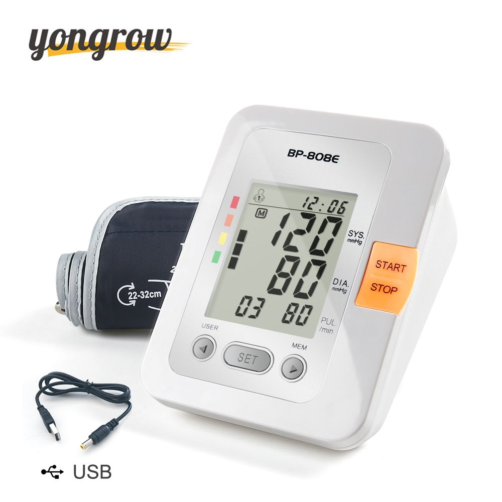 Yongrow Digital Lcd <font><b>Upper</b></font> Arm Blood Pressure Monitor Sphygmomanometer Heart Beat Meter Machine Tonometer for Measuring
