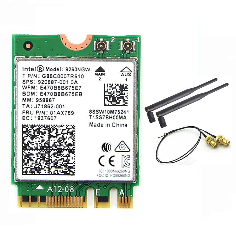 Wireless For Intel AC 9260 9260NGW 802.11ac NGFF WiFi Bluetooth 5.0 Card + 6dbi IPEX MHF4 U.fl To RP-SMA External Antenna Set