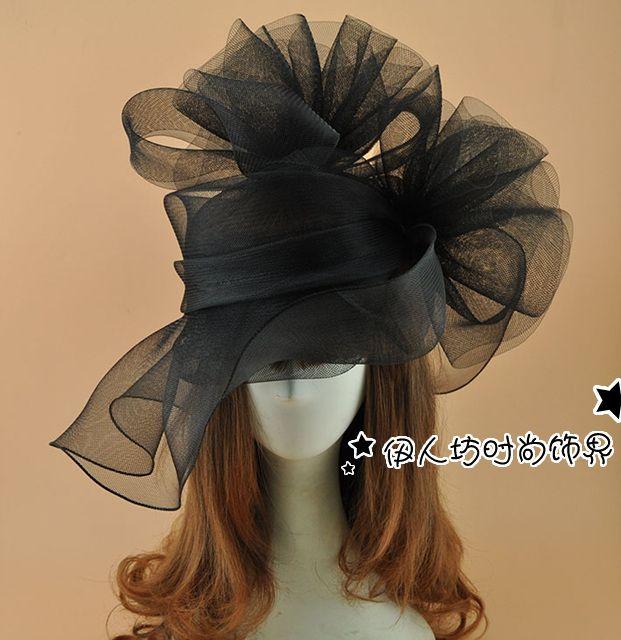 Super grand filet noir fleur Fascinator chapeau épingle à cheveux mode femmes fantaisie spectacle Cocktail partie maille cheveux accessoires de mariage chapeau