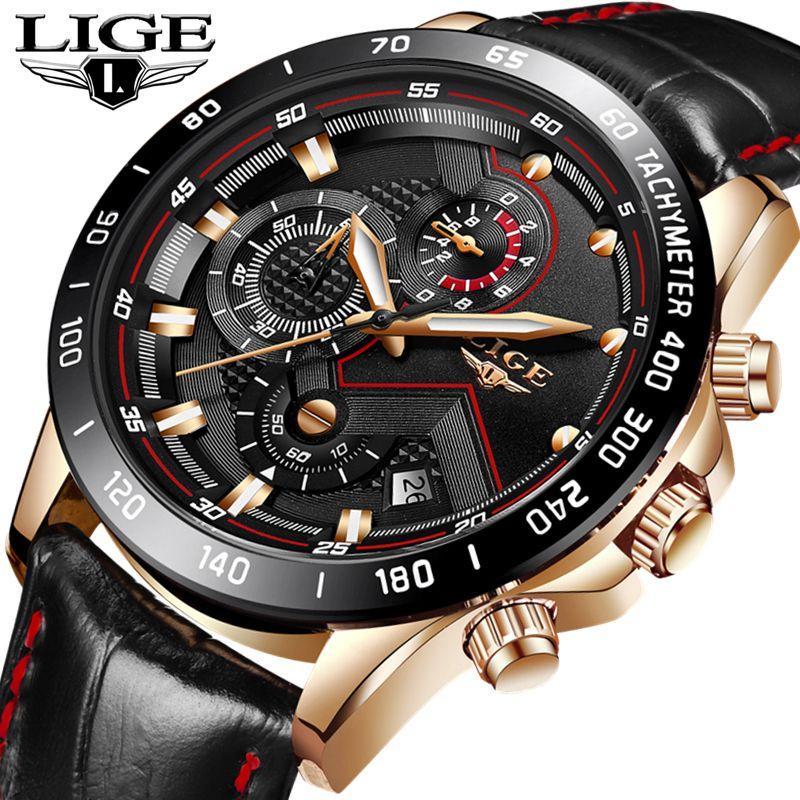 LIGE Fashion Top Luxury Brand Watch Men's Casual Gold Quartz Watch Men Leather Military Waterproof Sport Watch Relogio Masculino