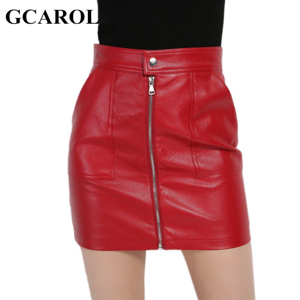 GCAROL 2017 Femmes Faux Jupe En Cuir Sexy PU Mini Jupe Avec deux Poches Haute Qualité A-ligne Rouge De Base Jupe Pour 4 Saison