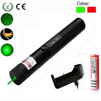 Зеленая/красная лазерная указка 532nm 5 мВт 303 лазерная ручка Регулируемая Звездная головка горящая спичка lazer с 18650 батареей + зарядное устройс...