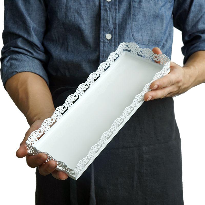 SWEETGO Rectangle plateau pour cupcake blanc gâteau de mariage outils pour affichage décoration plaque fête événement décoration de la maison ustensiles de cuisson