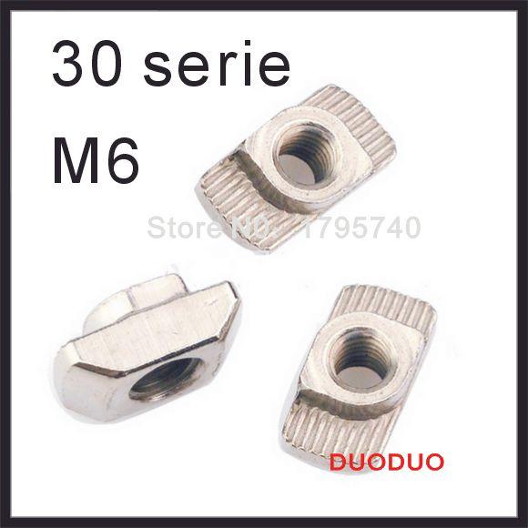 100pcs/lot M6 Hammer Nut Aluminum Connector T Fastener Sliding Nut Nickel Plated Carbon Steel for 3030 Aluminum Profile